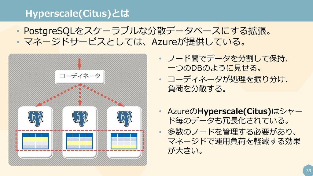 39 Hyperscale(Citus)とは • ノード間でデータを分割して保持、 一つのDB...