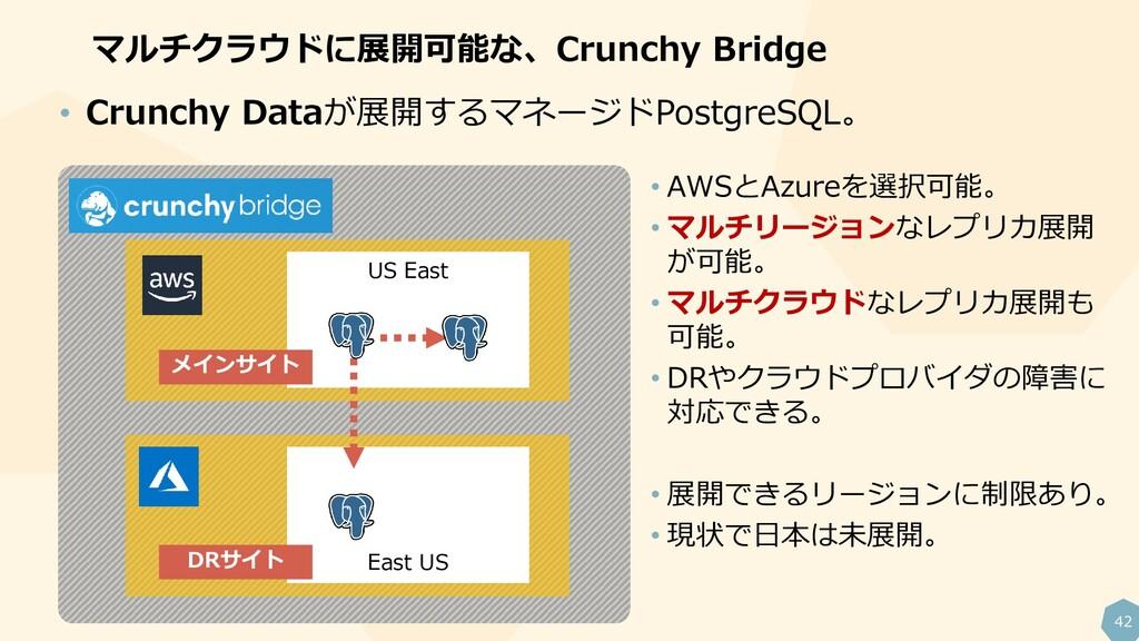 42 マルチクラウドに展開可能な、Crunchy Bridge • Crunchy Dataが...
