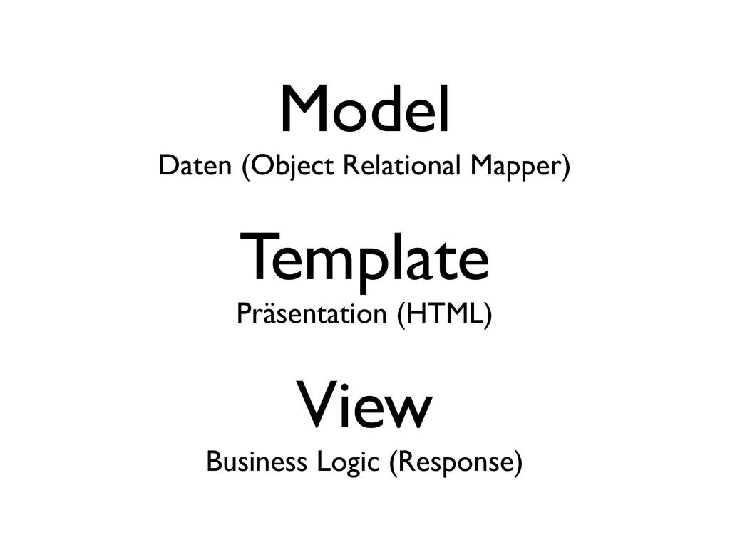 Model Daten (Object Relational Mapper) Template...