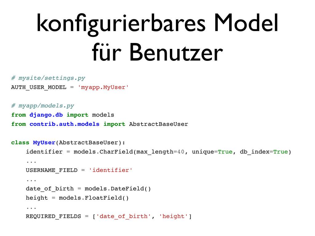 konfigurierbares Model für Benutzer # mysite/set...