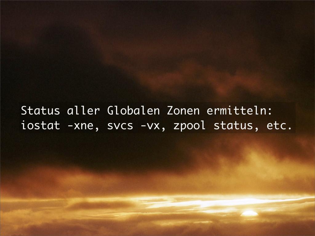 Status aller Globalen Zonen ermitteln: iostat -...
