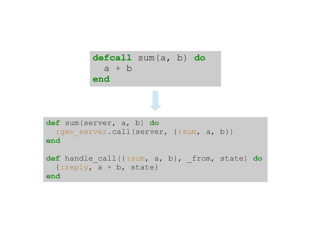 defcall sum(a, b) do a + b end def sum(server, ...