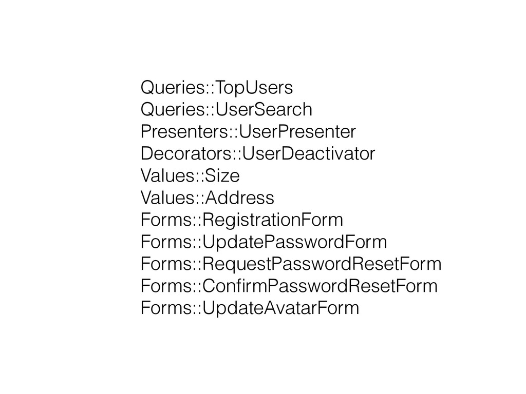 Queries::TopUsers Queries::UserSearch Presenter...
