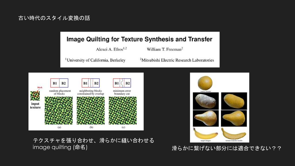 古い時代のスタイル変換の話 テクスチャを張り合わせ、滑らかに縫い合わせる image quil...