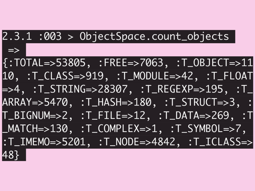 2.3.1 :003 > ObjectSpace.count_objects => {:TOT...