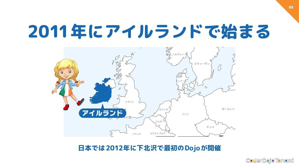 03 2011年にアイルランドで始まる 日本では2012年に下北沢で最初のDojoが開催 フラ...