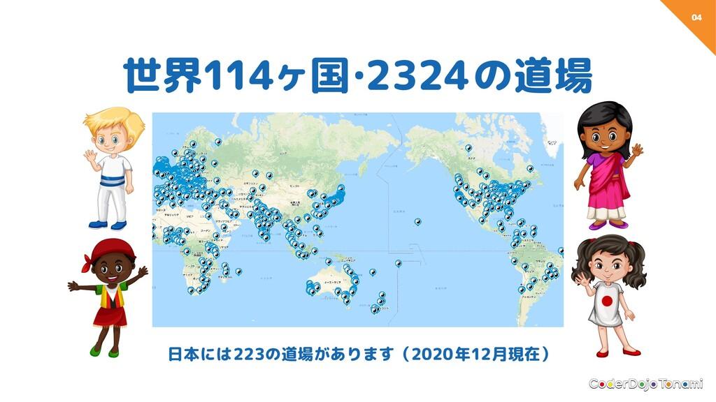 04 世界114ヶ国 ・ 2324の道場 日本には223の道場があります(2020年12月現在)