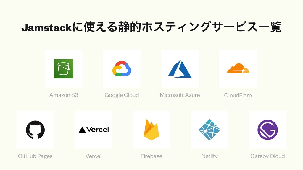 Jamstackʹ͑Δ੩తϗεςΟϯάαʔϏεҰཡ Amazon S3 Google Clo...