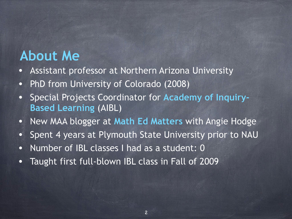 About Me • Assistant professor at Northern Ariz...