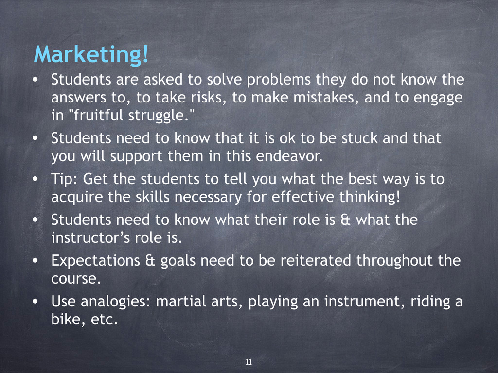 Marketing! • Students are asked to solve proble...