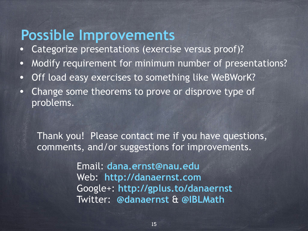 Possible Improvements • Categorize presentation...