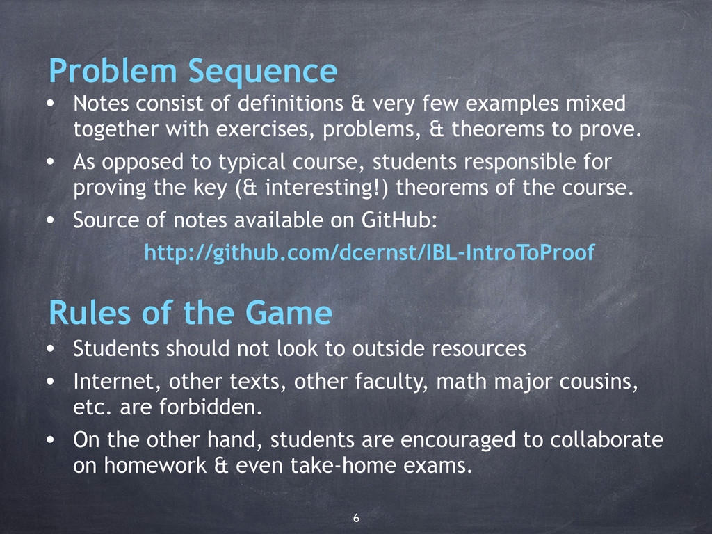 Problem Sequence • Notes consist of definitions...