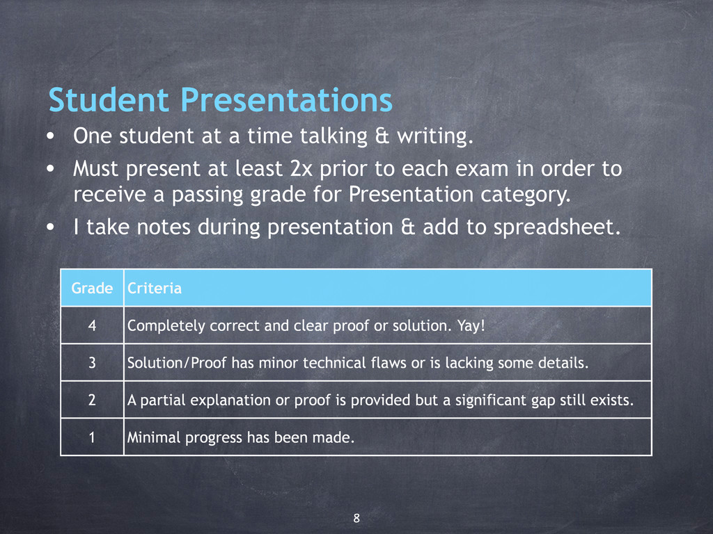 Student Presentations • One student at a time t...