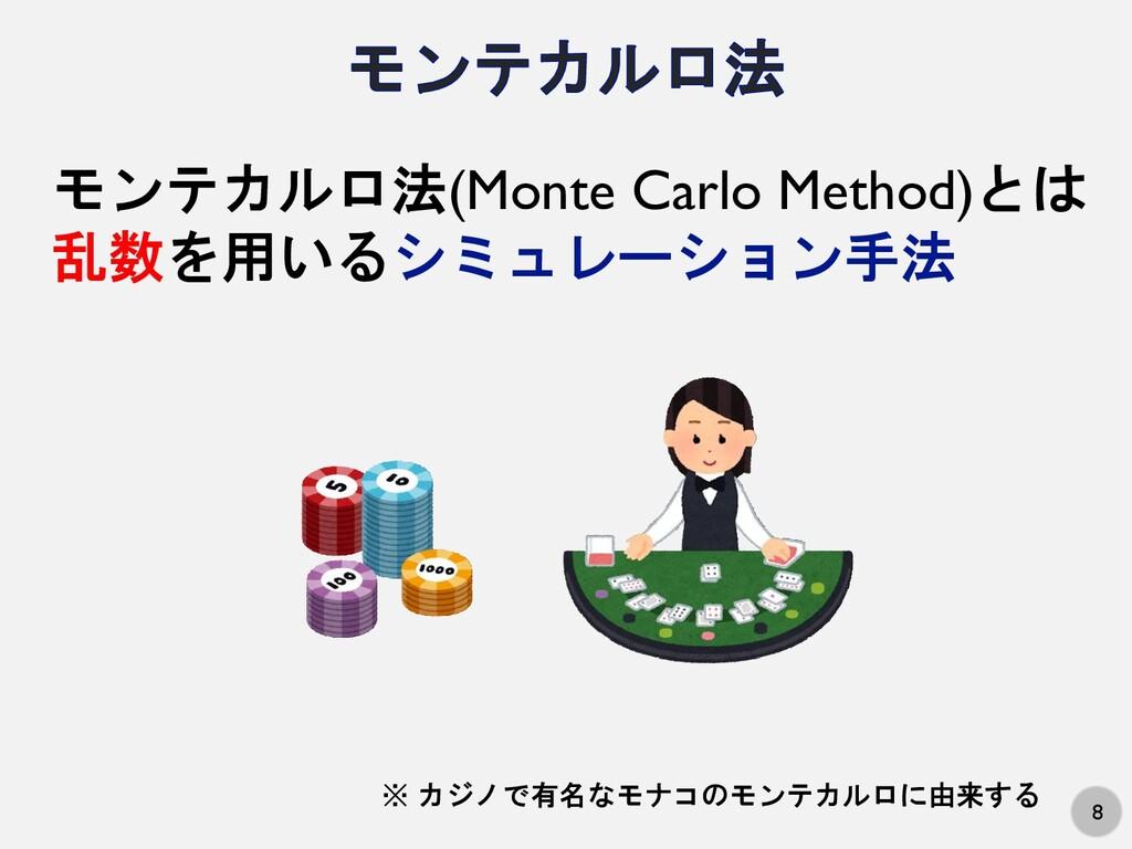 8 モンテカルロ法(Monte Carlo Method)とは 乱数を用いるシミュレーション手...