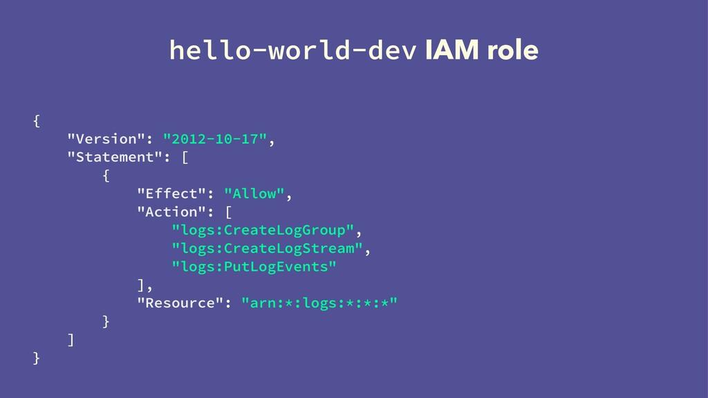 "hello-world-dev IAM role { ""Version"": ""2012-10-..."