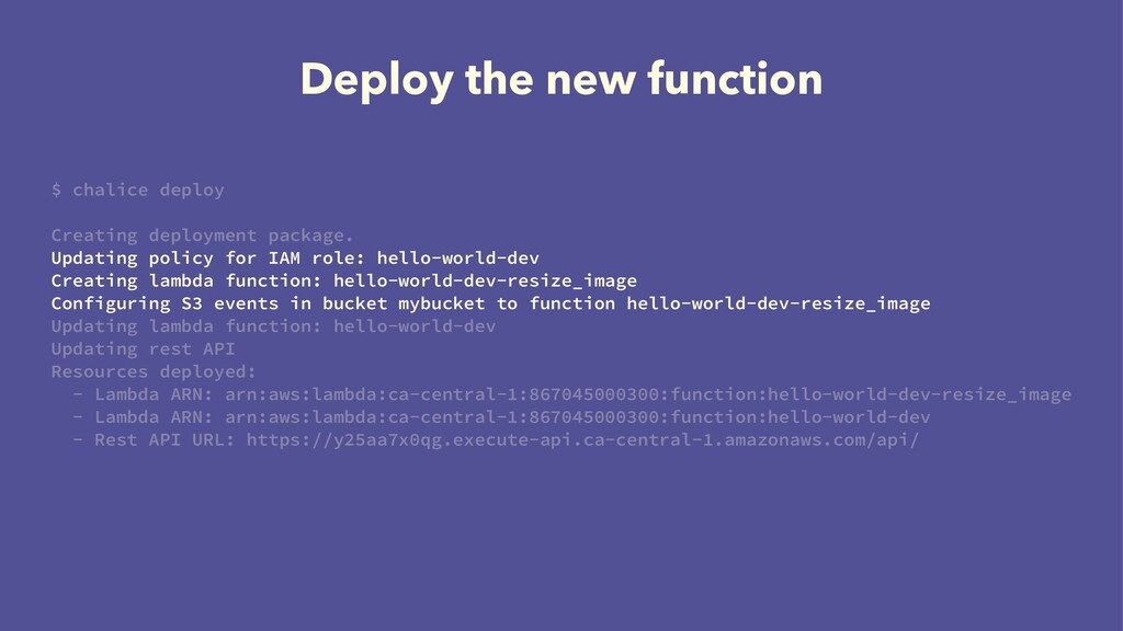 Deploy the new function $ chalice deploy Creati...