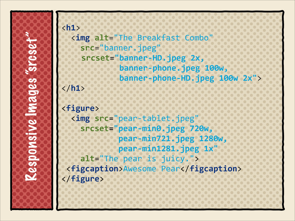 "Responsive Images ""srcset"" <h1> 	