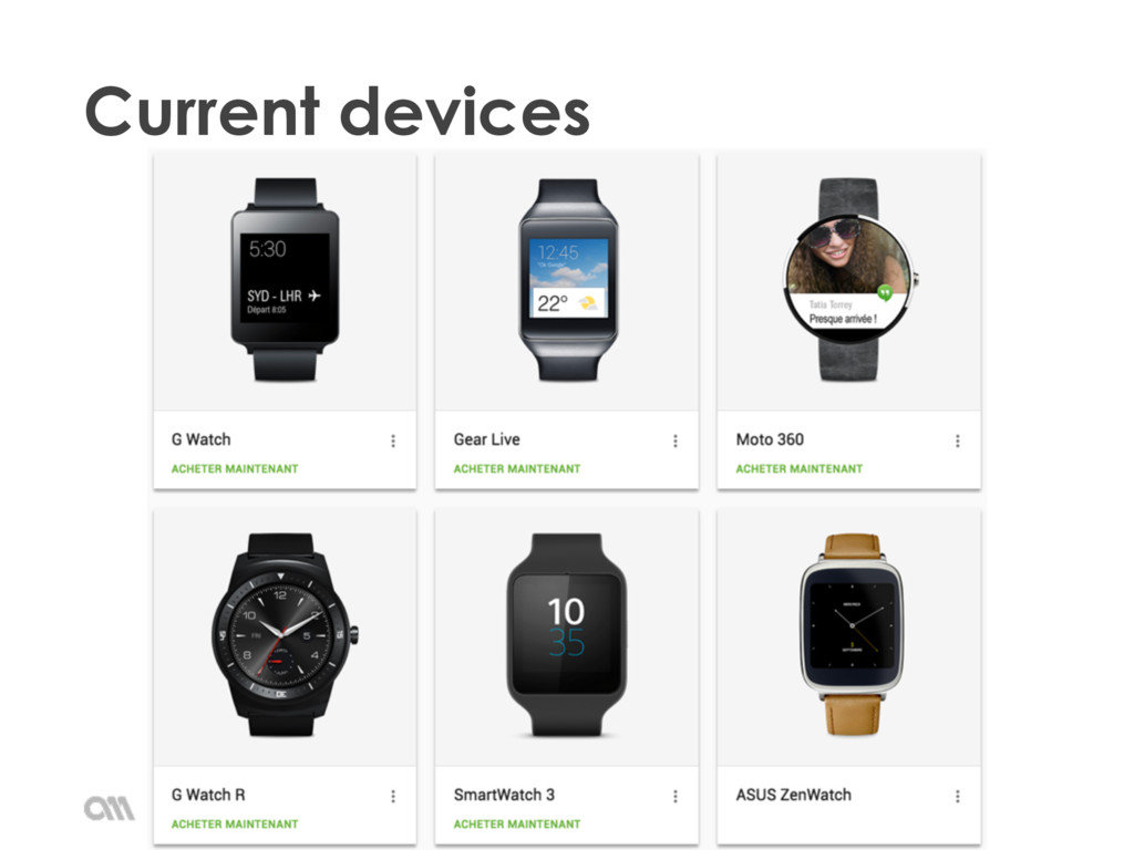Current devices Android Wear