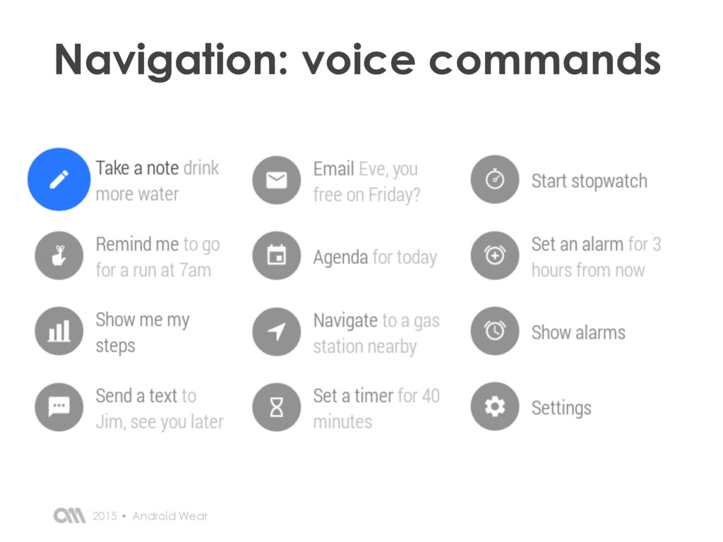 Navigation: voice commands Android Wear 2015 •