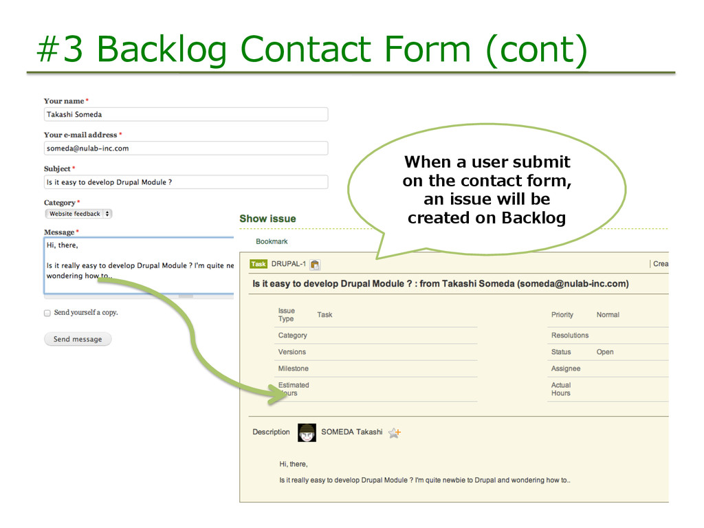 #3 Backlog Contact Form (cont) When a use...