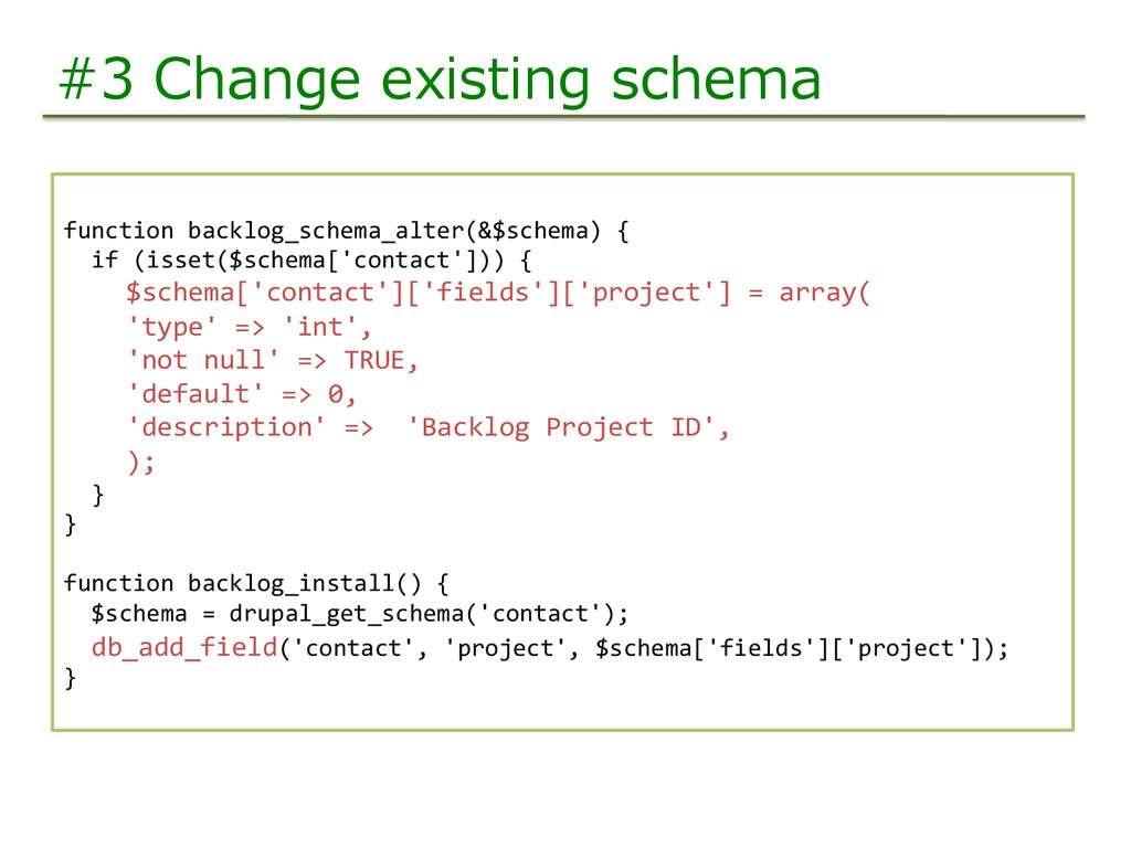 #3  Change  existing  schema function	