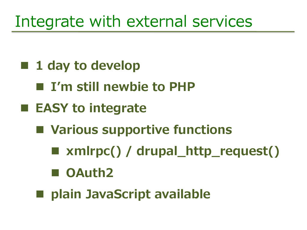 Integrate  with  external  services   n  1  da...