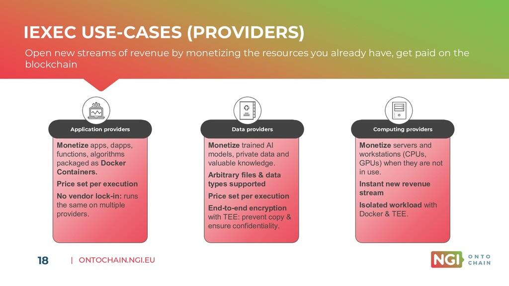 | ONTOCHAIN.NGI.EU 18 IEXEC USE-CASES (PROVIDER...