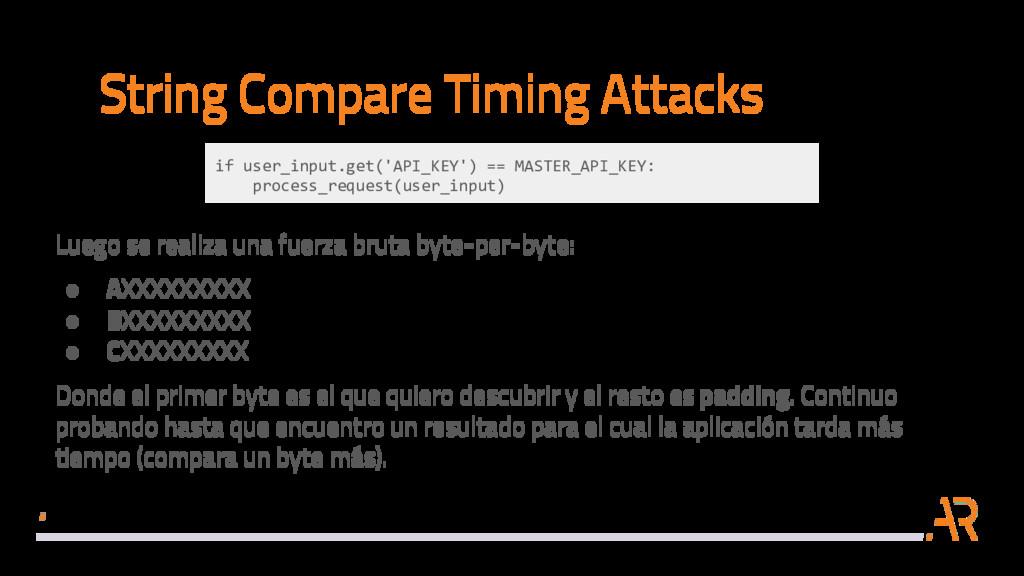 String Compare Timing Attacks Luego se realiza ...