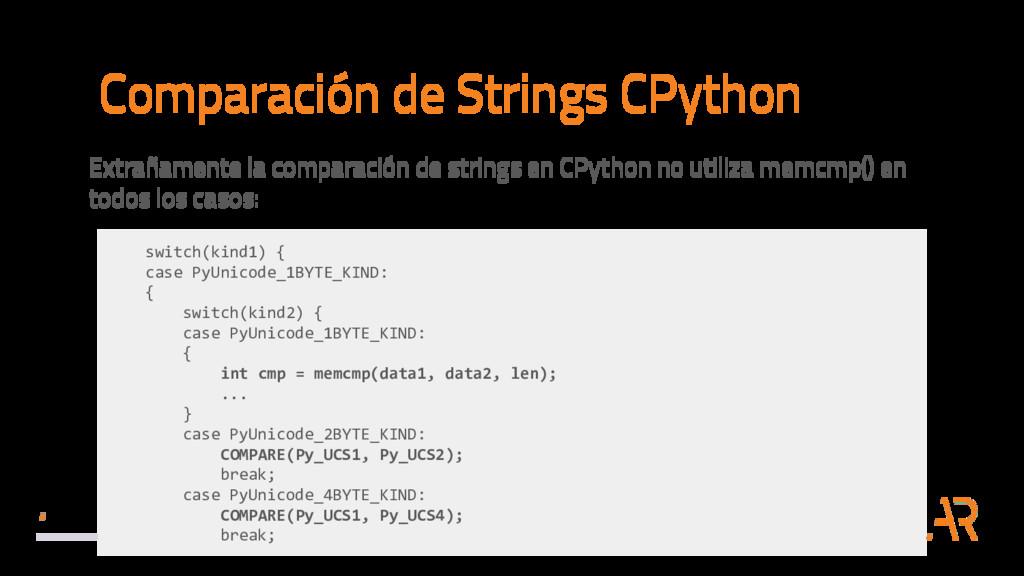 Comparación de Strings CPython Extrañamente la ...