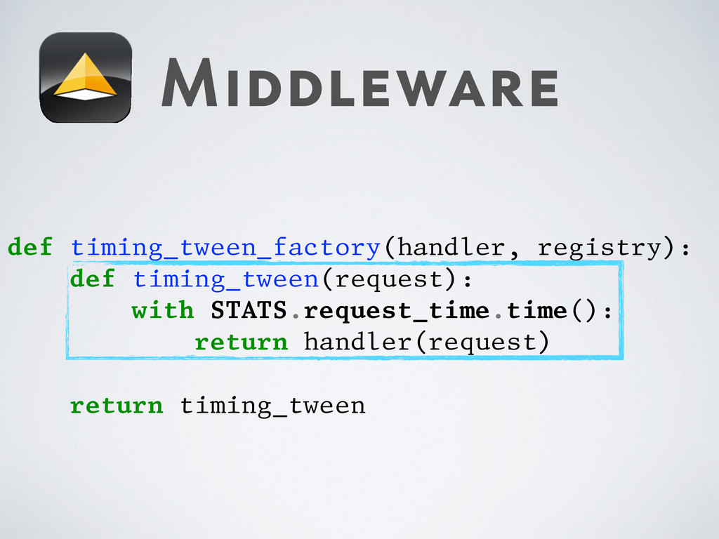 Middleware def timing_tween_factory(handler, re...