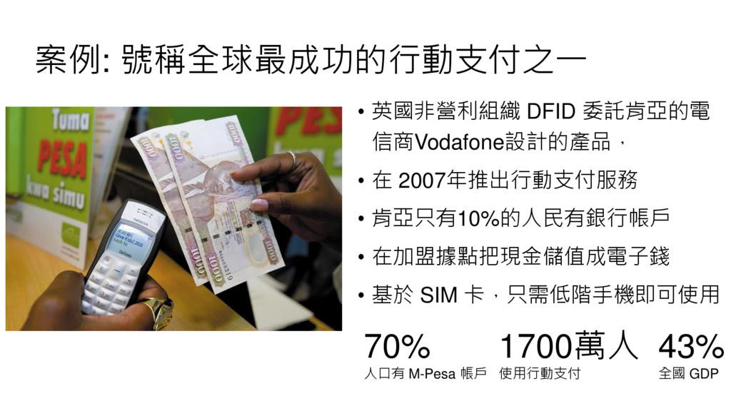 案例: 號稱全球最成功的行動支付之一 • 英國非營利組織 DFID 委託肯亞的電 信商Voda...