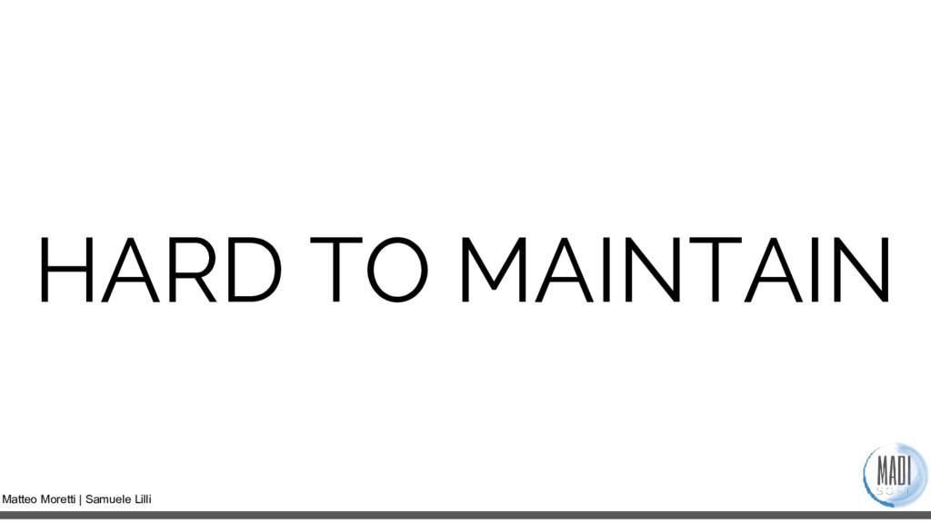 Matteo Moretti | Samuele Lilli HARD TO MAINTAIN