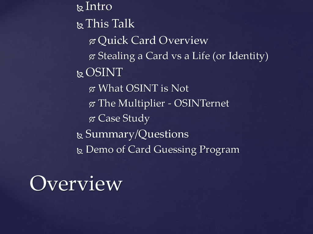  Intro  This Talk  Quick Card Overview  Ste...
