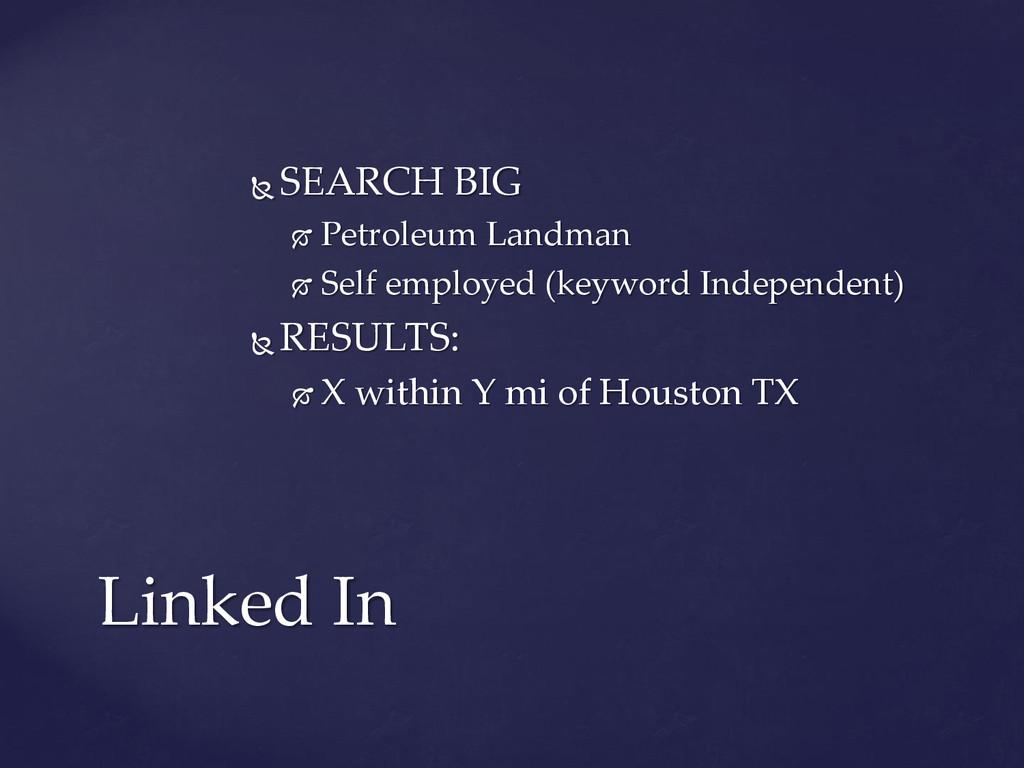  SEARCH BIG  Petroleum Landman  Self employe...