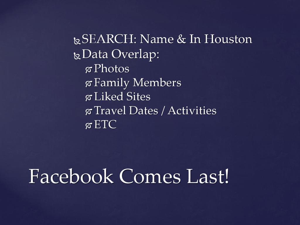 SEARCH: Name & In Houston Data Overlap:  Pho...