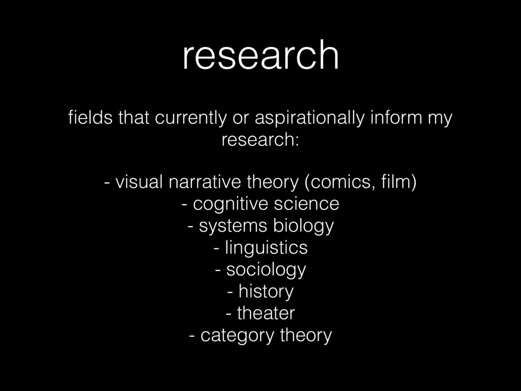 research fields that currently or aspirationally...