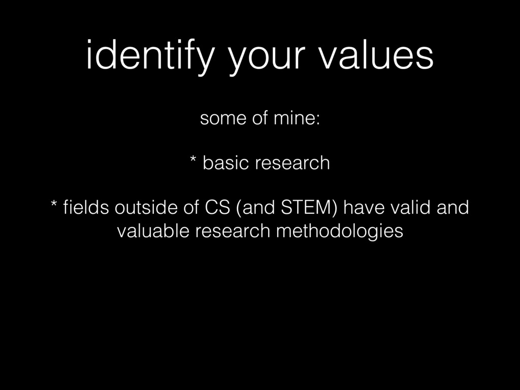 identify your values some of mine: * basic rese...
