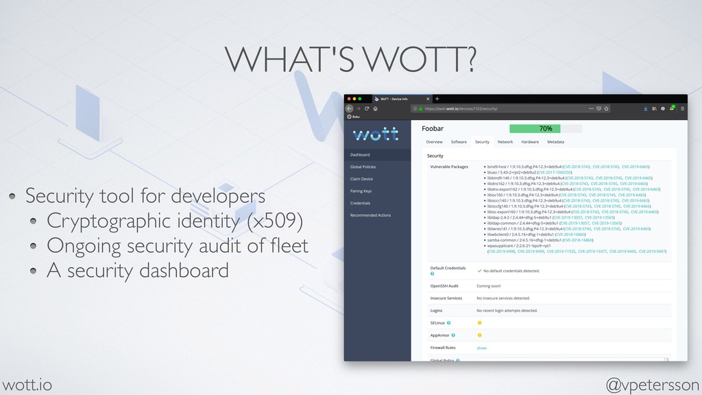 WHAT'S WOTT? @vpetersson wott.io Security tool ...