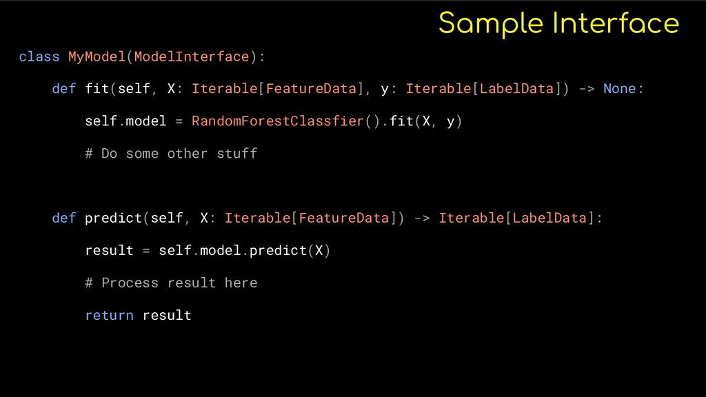 Sample Interface class MyModel(ModelInterface):...
