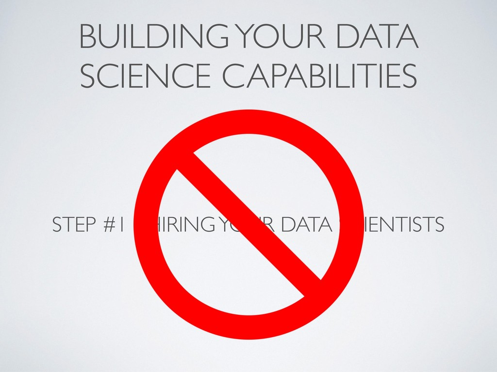 BUILDING YOUR DATA SCIENCE CAPABILITIES STEP #1...