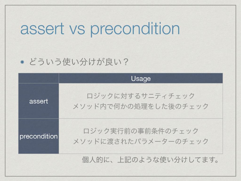 assert vs precondition Ͳ͏͍͏͍͚͕ྑ͍ʁ Usage asser...