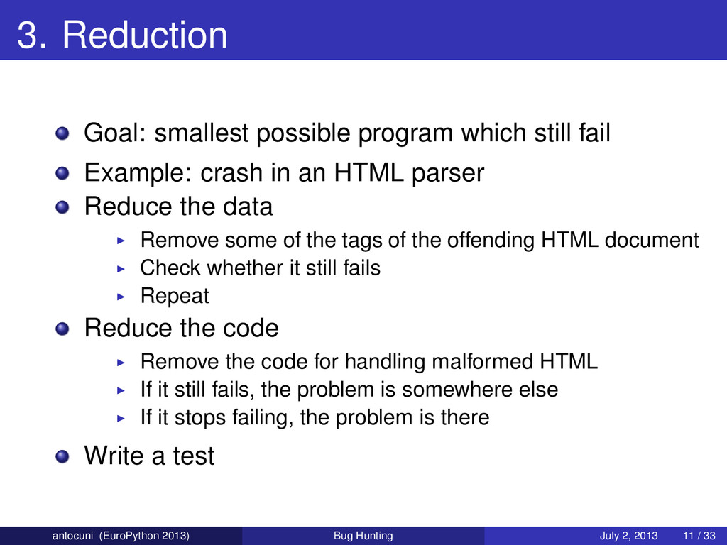 3. Reduction Goal: smallest possible program wh...