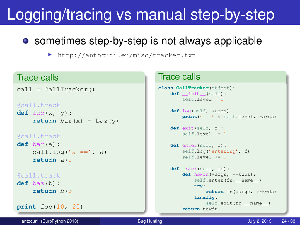 Logging/tracing vs manual step-by-step sometime...