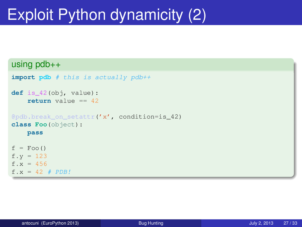 Exploit Python dynamicity (2) using pdb++ impor...