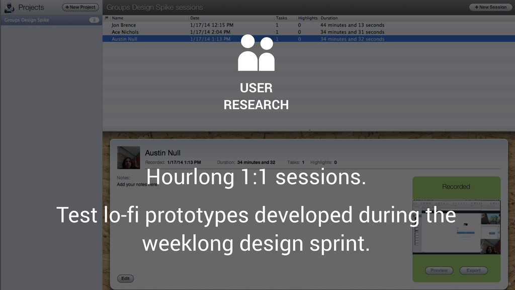29  USER RESEARCH Hourlong 1:1 sessions. Test l...