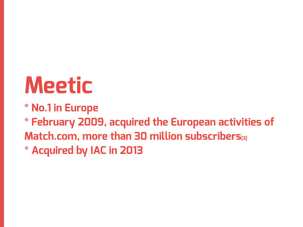 Meetic * No.1 in Europe * February 2009, acquir...