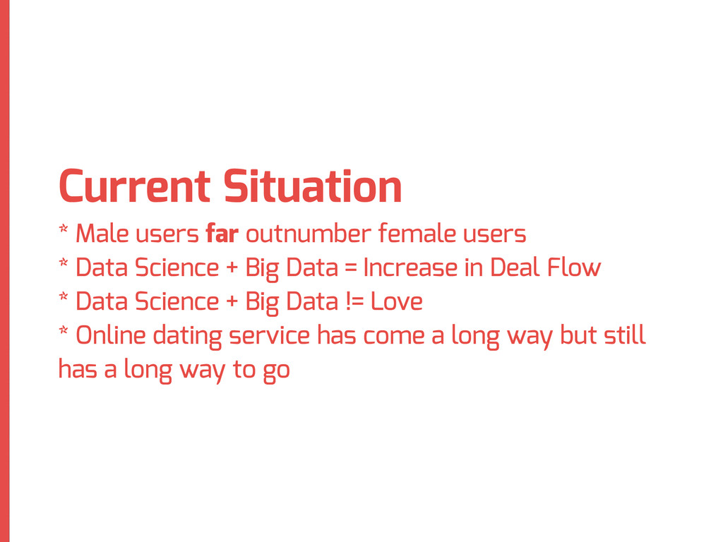 Current Situation * Male users far outnumber fe...