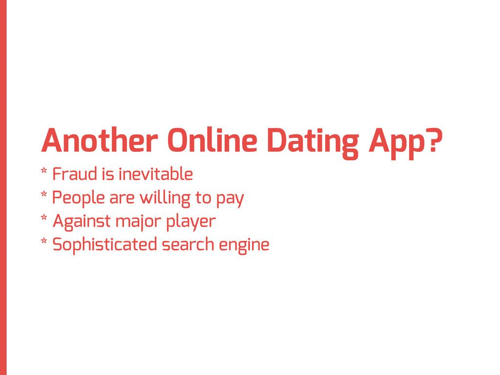 Another Online Dating App? * Fraud is inevitabl...