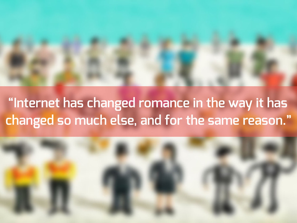 """""""Internet has changed romance in the way it has..."""