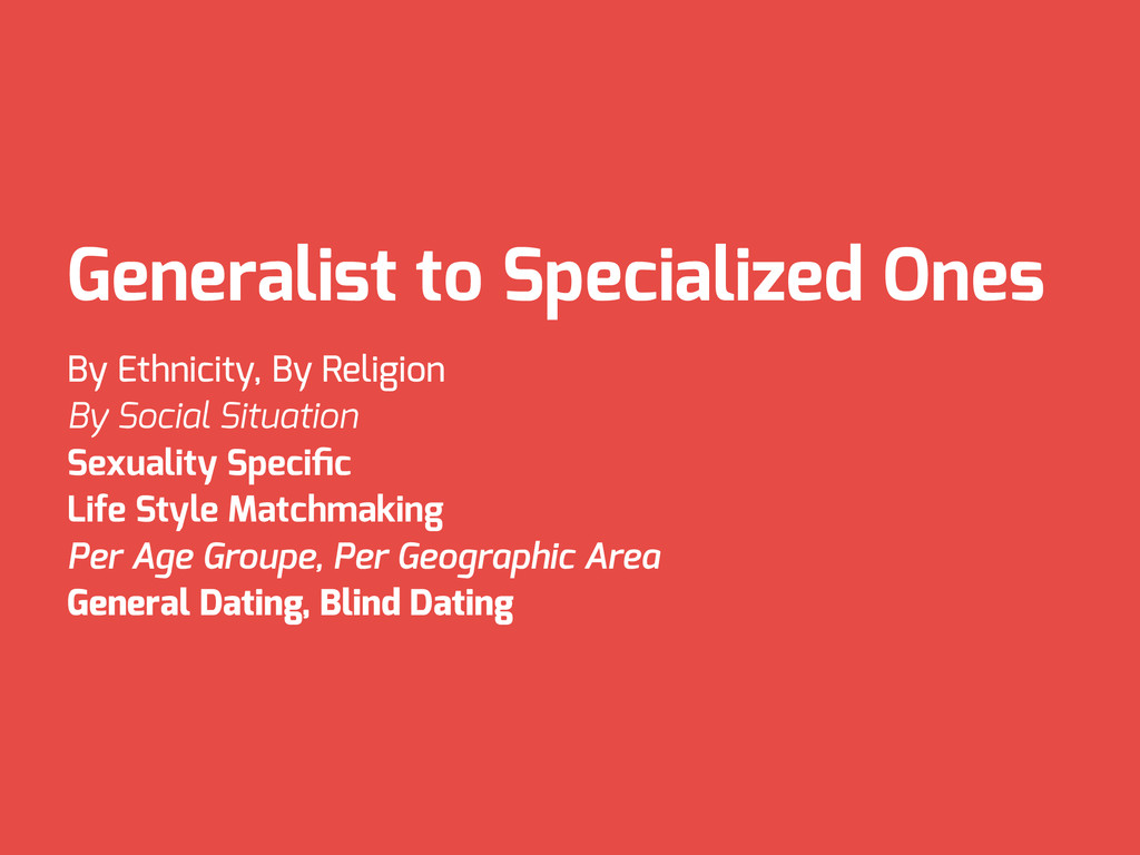 Generalist to Specialized Ones By Ethnicity, By...